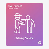 Social care, delivery service for elderly people. Volunteer with groceries. Safety delivery, courier in surgical mask. Thin line icon. Pixel perfect, editable stroke. Vector illustration.