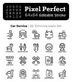 Car service thin line icons set: mechanic, car pit, computer diagnostics, road assistance, battery, body repair, tire fitting, replacing spark plugs. Pixel perfect, editable stroke Vector illustration