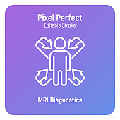 Scanning of human body, MRI scan thin line icon. Medical equipment for oncology detection. Pixel perfect, editable stroke. Vector illustration.