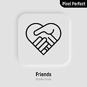 Handshake in heart shape. Friendship, agreement, cooperation, support. Thin line icon. Pixel perfect, editable stroke. Vector illustration.