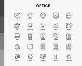 Office related thin line icons set: mail, table lamp, clock, calendar, briefcase, badge, location, teamwork, analytics, printer, paper shredder, laptop, presentation. Vector illustration.