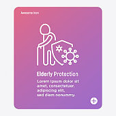 Virus protection for elderly person: old person is protected by shield, bacterias can't attack him. Immune system, vaccination, antibiotics. Thin line icon. Modern vector illustration.