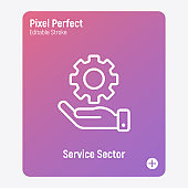 Service sector thin line icon. Human hand with cogwheel. Technical support, improvement, settings, engineering. Pixel perfect, editable stroke. Vector illustration.