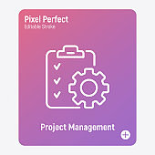 Project management thin line icon. Clipboard with checklist and cogwheel. Schedule of tasks. Pixel perfect, editable stroke. Vector illustration.