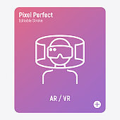 Man in VR glasses, augmented reality, cyber space. Thin line icon. Pixel perfect, editable stroke. Vector illustration.