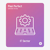IT sector thin line icon. Open laptop with cogwheel. Settings, software service, update, configuration. Pixel perfect, editable stroke. Vector illustration.