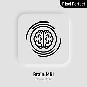 Human brain MRI scan thin line icon. Medical equipment for oncology detection. Pixel perfect, editable stroke. Vector illustration.survey.
