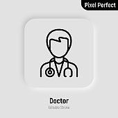 Doctor with stethoscope thin line icon. Healthcare worker. Editable stroke, pixel perfect. Vector illustration.