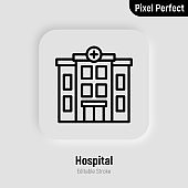 Hospital building thin line icon. Pixel perfect, editable stroke. Vector illustration.