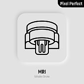 Human in MRI scanner thin line icon. Medical equipment for oncology detection. Pixel perfect, editable stroke. Vector illustration.