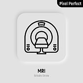 MRI scanner thin line icon. Medical equipment for oncology detection. Pixel perfect, editable stroke. Vector illustration.