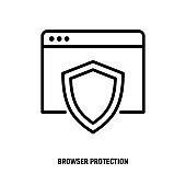 Web browser protection thin line icon. Shield on web page. Vector illustration.