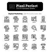 Digital marketing thin line icon set. Social media, advertising, e-mail marketing, e-commerce, online shopping, conversion, start up, promotion. Pixel perfect, editable stroke. Vector illustration