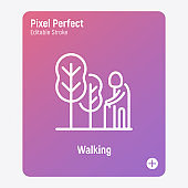 Elderly person walking in park. Nursing home. Thin line icon. Pixel perfect, editable stroke. Vector illustration.