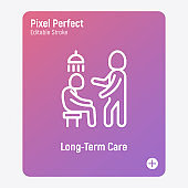 Caregiver with elderly person helps to take shower. Thin line icon. Assisted living in nurse house. Geriatric medicine. Pixel perfect, editable stroke. Vector illustration.