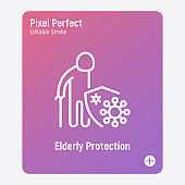 Elderly man protection by shield from coronavirus. Nursing home trust. Thin line icon. Pixel perfect, editable stroke. Vector illustration.