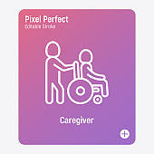 Caregiver with elderly person in wheelchair. Thin line icon. Assisted living in nurse house. Geriatric medicine. Pixel perfect, editable stroke. Vector illustration.