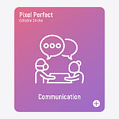 Communication in nursing home: caregiver is talking with elderly person. Thin line icon. Assisted living in nurse house. Psychological help. Pixel perfect, editable stroke. Vector illustration.