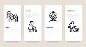 Nursing home for elderly people mobile user interface with thin line icons. Assisted living for disabled. Long-term service. Pixel perfect, editable stroke. Vector illustration.