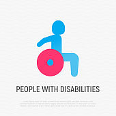 Flat icon of disabled in wheelchair. People with disabilities. Vector illustration.
