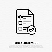 Medical insurance: sheet of paper with medical cross and check mark. Prior authorization. Thin line icon. Vector illustration.