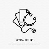 Medical bills: stethoscope with sheets of paper. Thin line icon. Healthcare insurance. Medical invoice. Vector illustration.