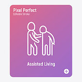 Caregiver with elderly person. Thin line icon. Assisted living in nurse house. Geriatric medicine. Pixel perfect, editable stroke. Vector illustration.