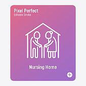 Nursing home thin line icon. Elderly people in house. Geriatric medicine. Pixel perfect, editable stroke. Vector illustration.