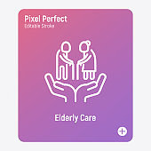 Elderly people care. Nursing home thin line icon. Geriatric medicine. Pixel perfect, editable stroke. Vector illustration.