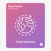 Global expansion thin line icon. Globe with around arrow. Globalization. Pixel perfect, editable stroke. Vector illustration.