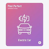 Electric car is charging. Thin line icon. Eco transport. Electromobile. Pixel perfect, editable stroke. Vector illustration.