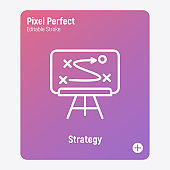 Business strategy thin line icon. Planning of tactics on blackboard. Pixel perfect, editable stroke. Vector illustration.