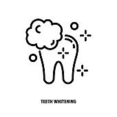 Teeth whitening thin line icon. Clean shine teeth. Dental treatment. Vector illustration.
