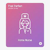 Caregiver, home nurse. Thin line icon. Assisted living. Geriatric medicine. Pixel perfect, editable stroke. Vector illustration.