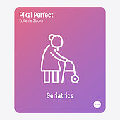 Elderly woman with walkers. Nursing home. Thin line icon. Pixel perfect, editable stroke. Vector illustration.