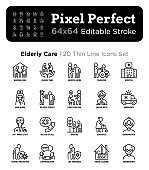 Nursing home for elderly people thin line icons set. Assisted living for disabled, volunteers help and support. Long-term service. Pixel perfect, editable stroke. Vector illustration.