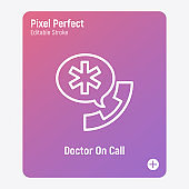 Doctor on call, emergency service, medical support. Thin line icon. Pixel perfect, editable stroke. Vector illustration.