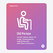 Thin line icon of priority seat for old person or disabled. Vector illustration.