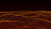 Abstract wave background with dots and lines moving in space. Technology illustration. Futuristic modern dynamic wave. 3d rendering.
