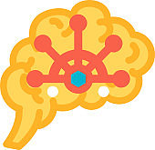 Brain function control of human body icon vector