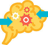 Making decision function of brain icon vector