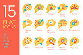 Brain activity human thinking flat icons set