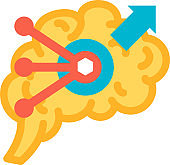 Brain function of solving problem icon vector