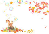 Watercolor illustration of squirrels blowing soap bubbles and autumn leaves. Autumn banner background. Vector data.
