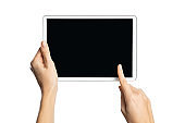 Woman hands using digital tablet with empty screen