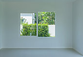 Empty room with glass window frame house interior on concrete wall