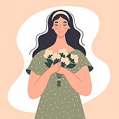 A beautiful woman holds a bouquet of white flowers in her hands. International Women's Day, March 8, date, greeting card. Spring vector illustration