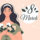 Beautiful woman with a bouquet of flowers. Postcard for women's day. Vector illustration in flat style