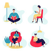 A set of reading people in different settings. Love for reading and books. Men and woman with books. Home schooling, library. Vector illustration in flat style