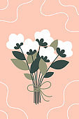 Beautiful spring bouquet with white flowers for women's day. Vector illustration on a pink background.